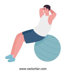 Man doing exercise with ball vector design