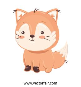 Kawaii fox animal cartoon vector design