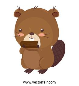 Kawaii beaver animal cartoon vector design