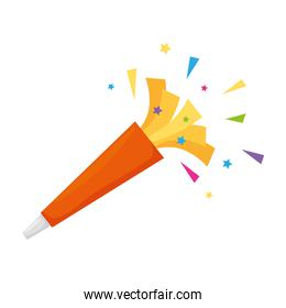 party whistle with confetti vector design