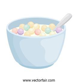 Breakfast cereal bowl with spoon vector design