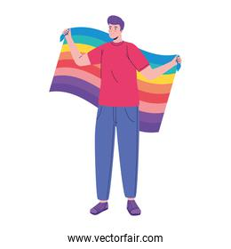 young man with lgtbi flag character