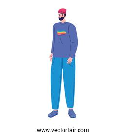 young man with lgtbi flag in the shirt character