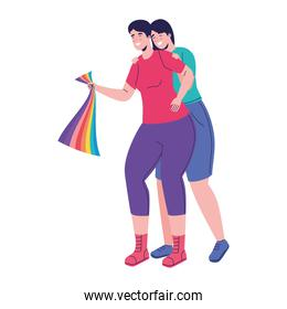 couple with lgtbi flag pride characters