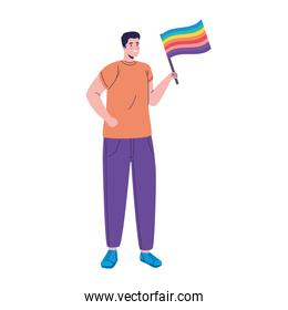 young man with lgtbi flag in pole