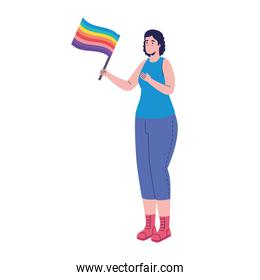 young woman with lgtbi flag in pole character