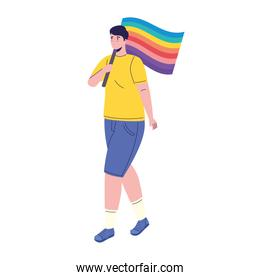 young man with lgtbi flag in pole character