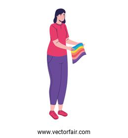 young woman with lgtbi flag pride character