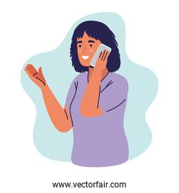 young woman using smartphone calling character
