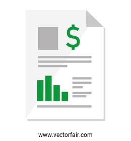financial document paper with statistics and dollar symbol