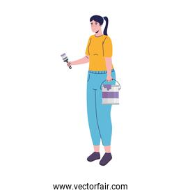 builder constructor woman with paint brush and pot character