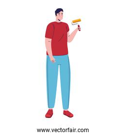 builder constructor man with paint roller character