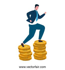 businessman running in pile coins cash money dollars