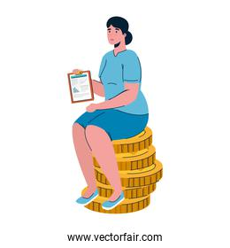 woman with clipboard seated in pile coins money dollars