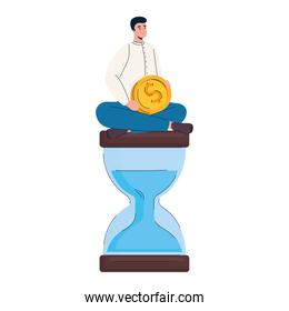 man with coin money dollar seated in hourglass