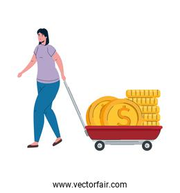 woman with coins money dollars in cart