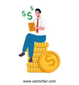 businessman seated in coins money dollars