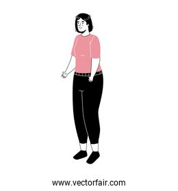 young woman standing avatar character