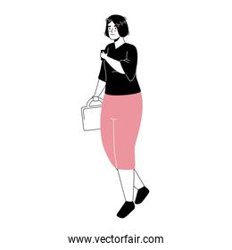young woman using smartphone with handbag character