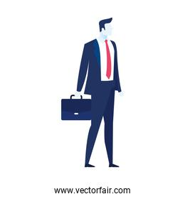 elegant businessman worker with portfolio