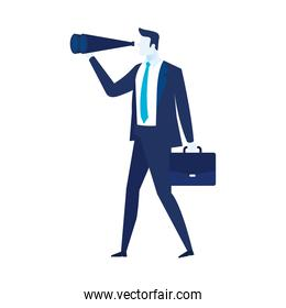 elegant businessman worker with portfolio and telescope