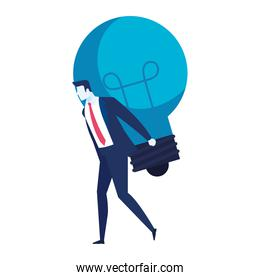 elegant businessman worker lifting bulb