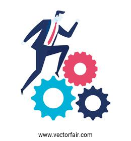 elegant businessman worker running in gears