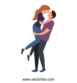 young lovers couple lifting and kissing characters