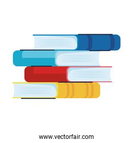 pile text books library set icons