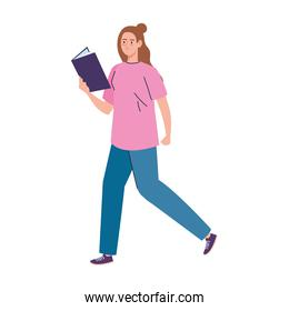 woman reading text book walking character
