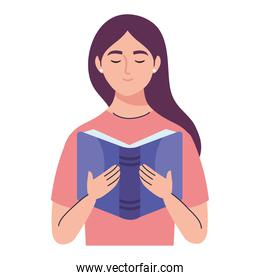 woman reading text book character