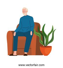 elderly old man seated in sofa character