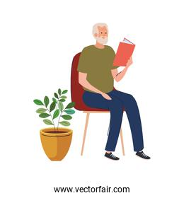 elderly old man reading book seated in chair character