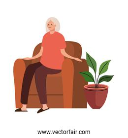 elderly old woman seated in sofa character