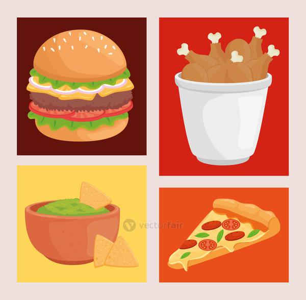 Fast food symbol collection vector design