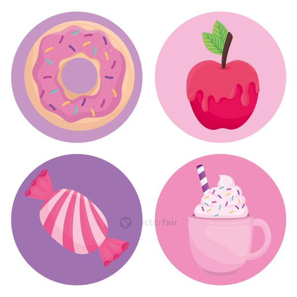 Sweet food symbol collection vector design