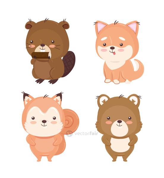 Kawaii animals cartoons set vector design
