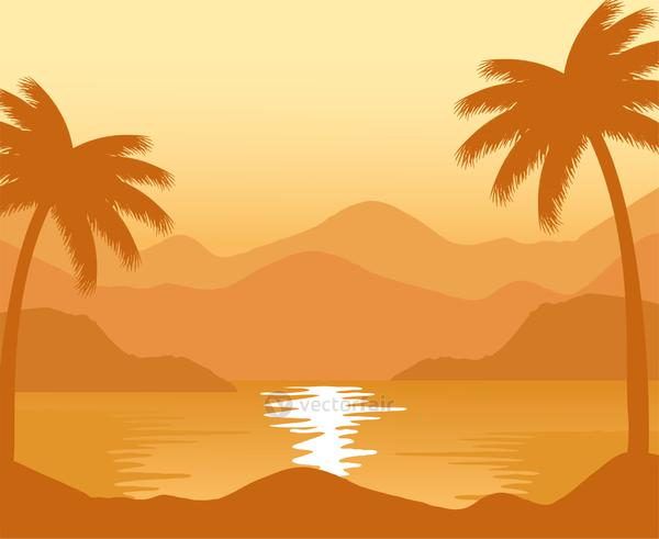 exotic beach with palms sunset abstract landscape scene
