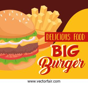 Fast food hamburger and french fries vector design