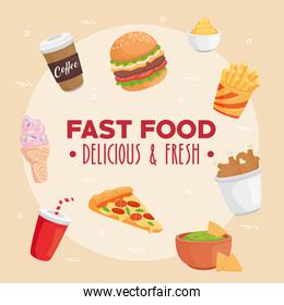 Fast food icon group vector design
