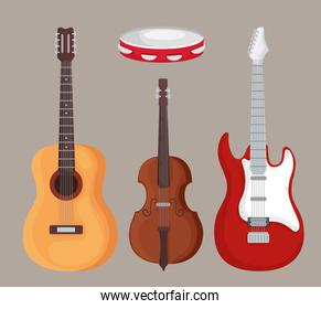 Guitars violin and tambourine instrument vector design