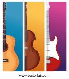 Guitars and violin instrument vector design