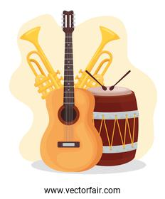 guitar trumpets and drum instrument icon vector design
