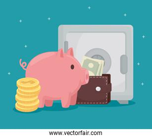 Coins piggy wallet with bills and strongbox vector design