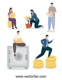 Save money and people with coins icon set vector design