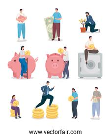 Save money and people with coins icon collection vector design
