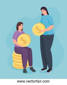 Save money of women holding coins vector design