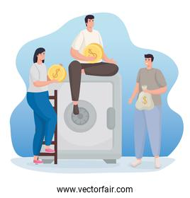 Save money and people with coins bag and strongbox vector design