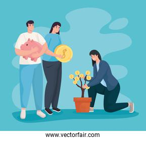 Save money and people with coins plant and piggy vector design