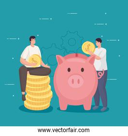 Save money of men holding coins with piggy vector design